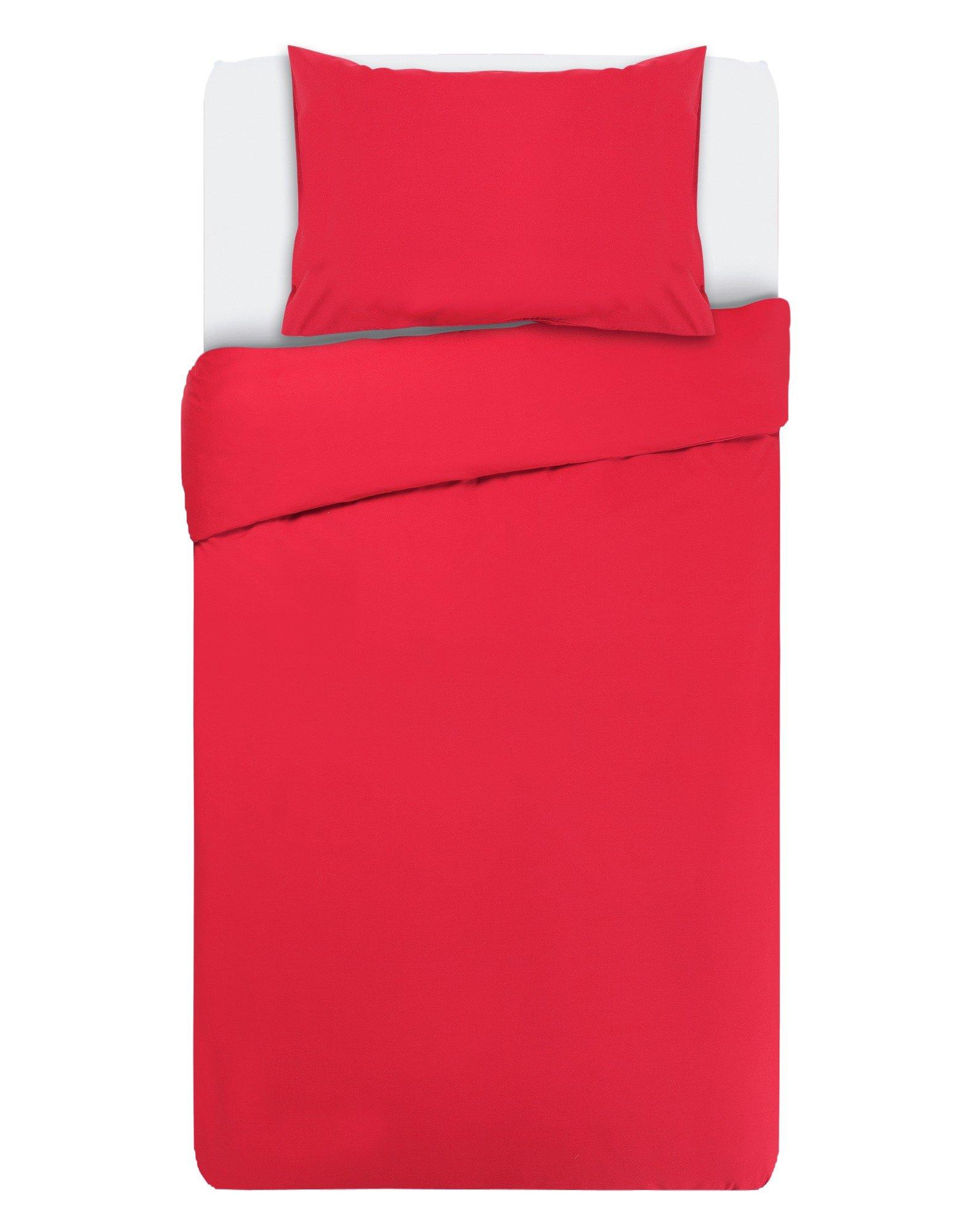 collection deep red non iron bedding set  single