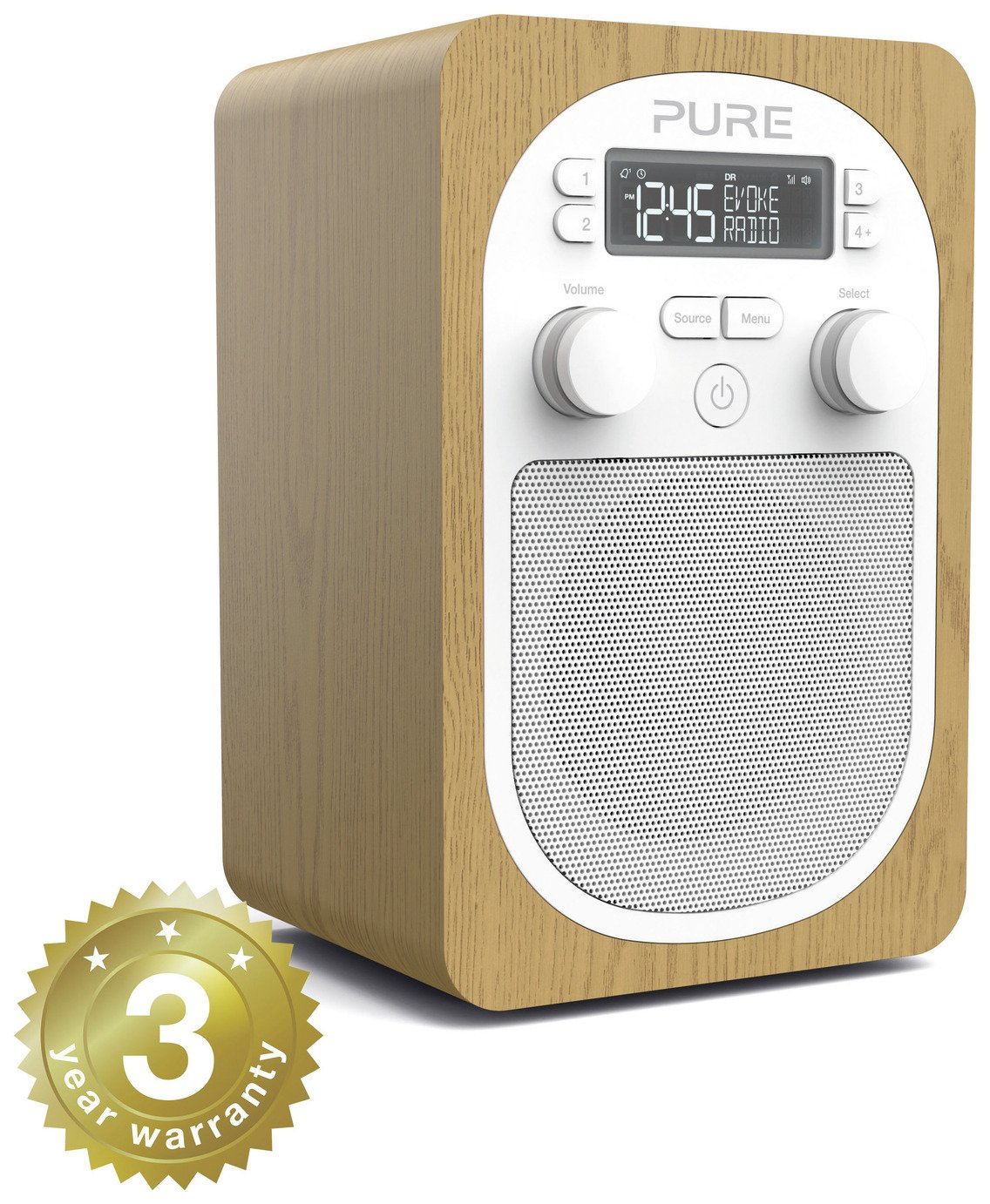 Pure Evoke H2 Portable DAB+/FM Radio with Alarm - Oak