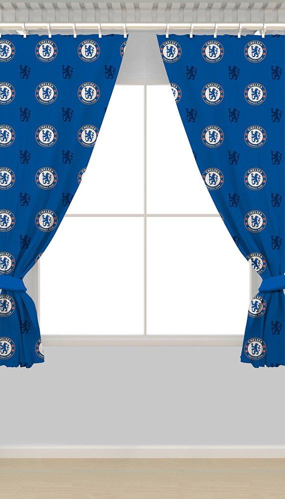 Image of Chelsea FC Crest Curtains - 168 x 137cm.