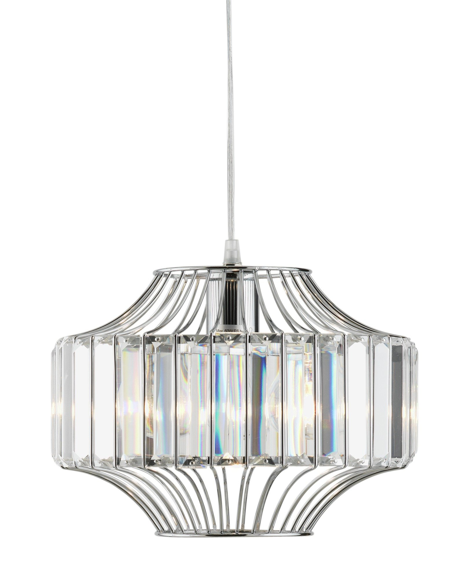 Argos Home Vienna Glass/Chrome Beaded Wire Pendant Light