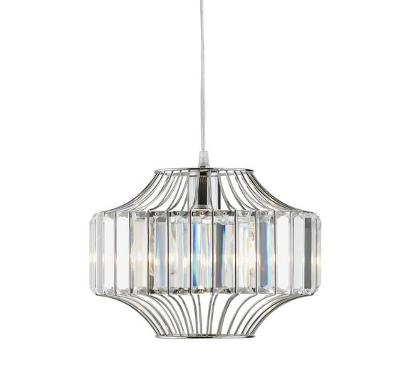 Buy Argos Home Vienna GlassChrome Beaded Wire Pendant Light - Kitchen light fixtures argos