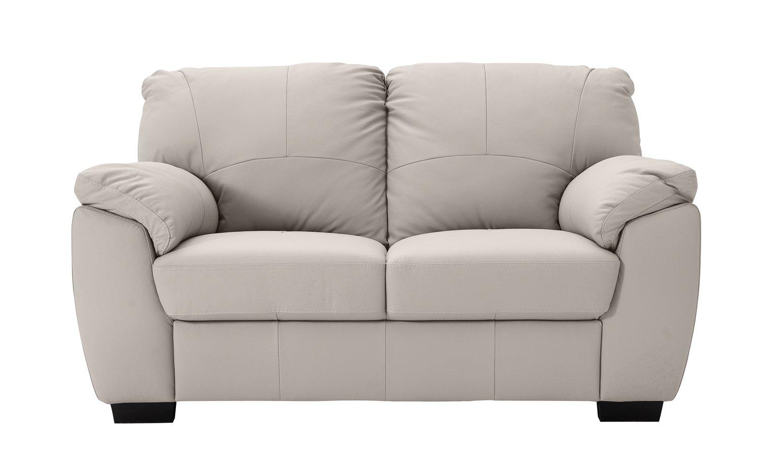 Argos Home Milano 2 Seater Leather Sofa - Light Grey
