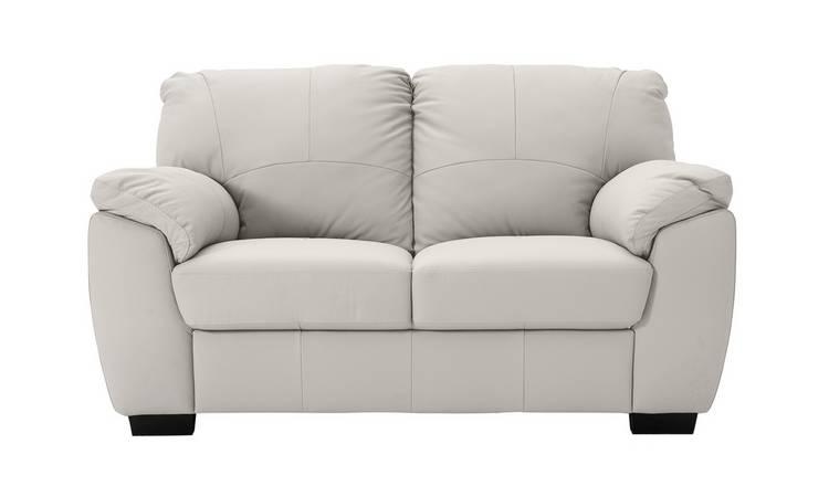 Buy Argos Home Milano 2 Seater Leather Sofa - Light Grey | Sofas ...