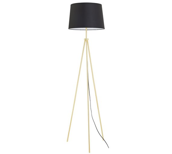 Buy Collection Trilby Brushed Brass Tripod Floor Lamp - Black at ...