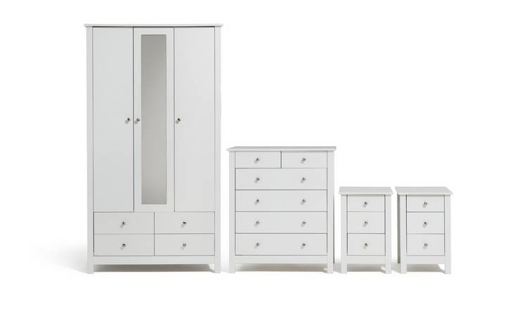 Habitat Osaka 4 Piece 3 Door Wardrobe Set - White