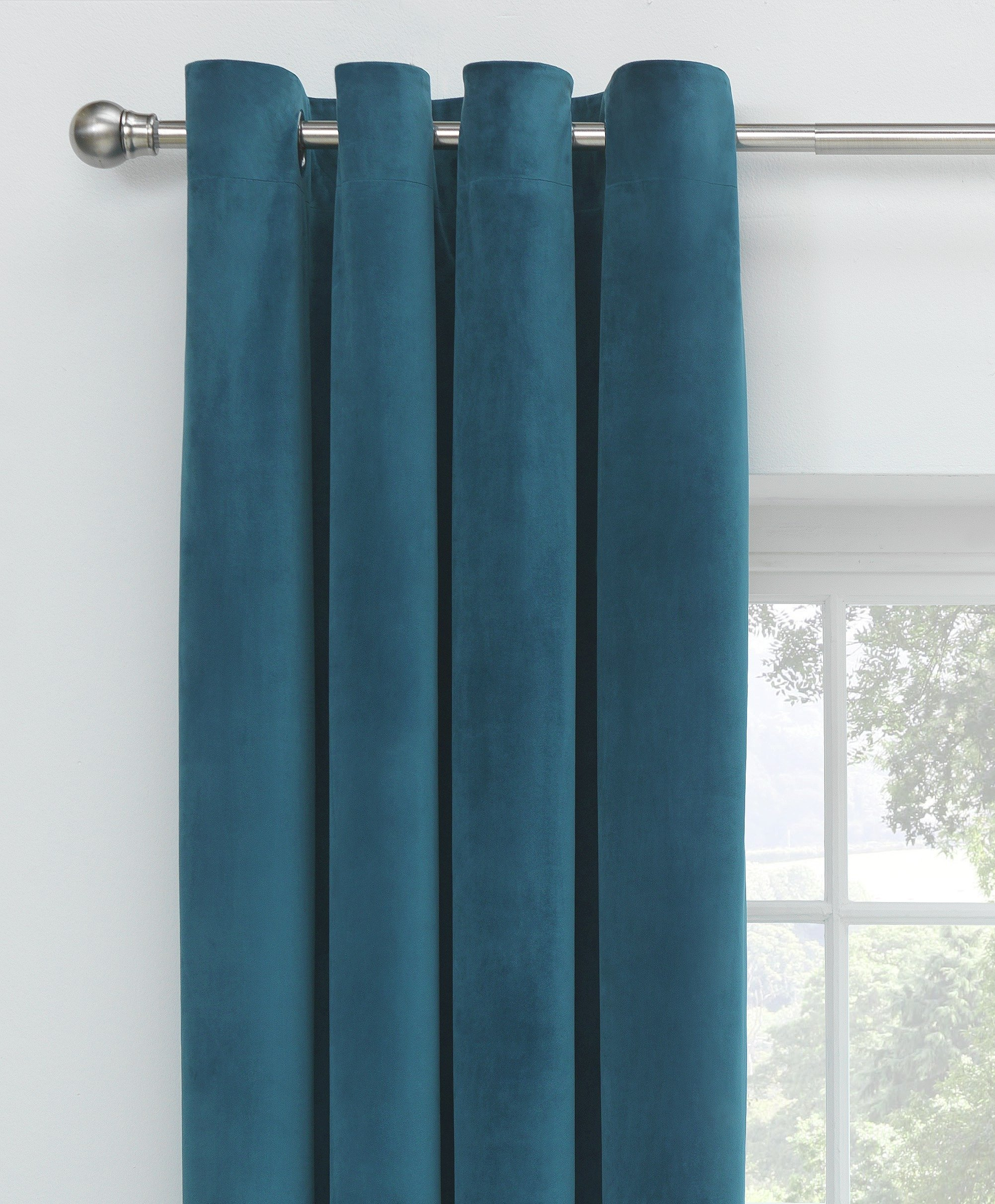 Collection Velour Lined Eyelet Curtains  168x137cm  Peacock