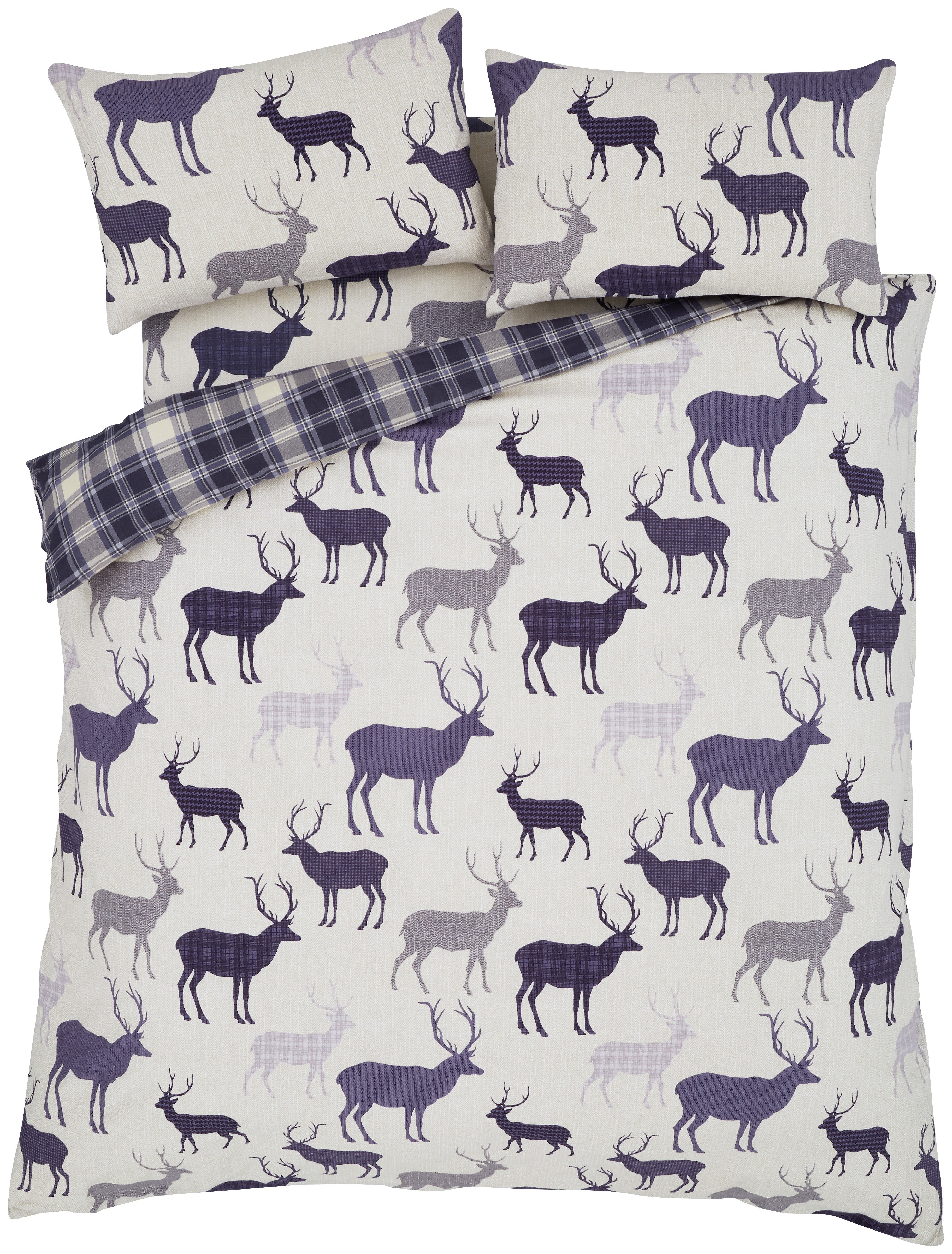 catherine lansfield grampian stag duvet cover set  double.