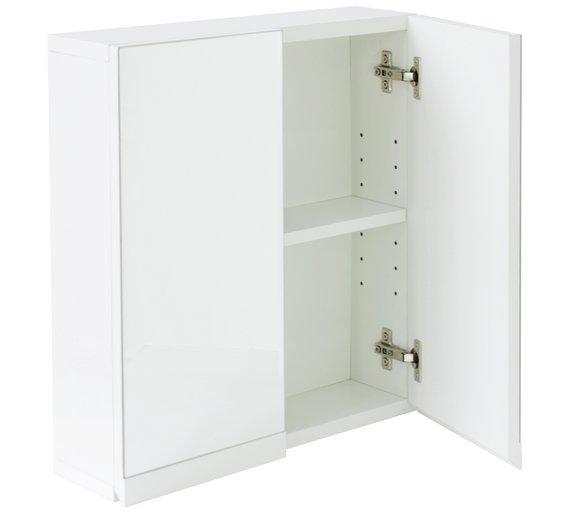 White Bathroom Wall Cabinet | Buy Argos Home Gloss 2 Door Bathroom Wall Cabinet White Bathroom
