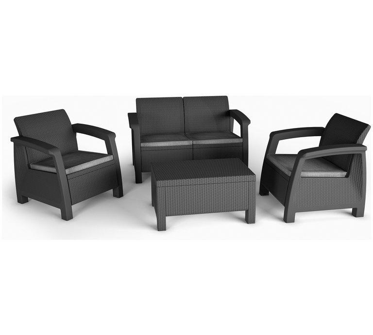 Garden Furniture 4 Seater Sets buy keter bahamas rattan 4 seater garden lounge set - graphite at