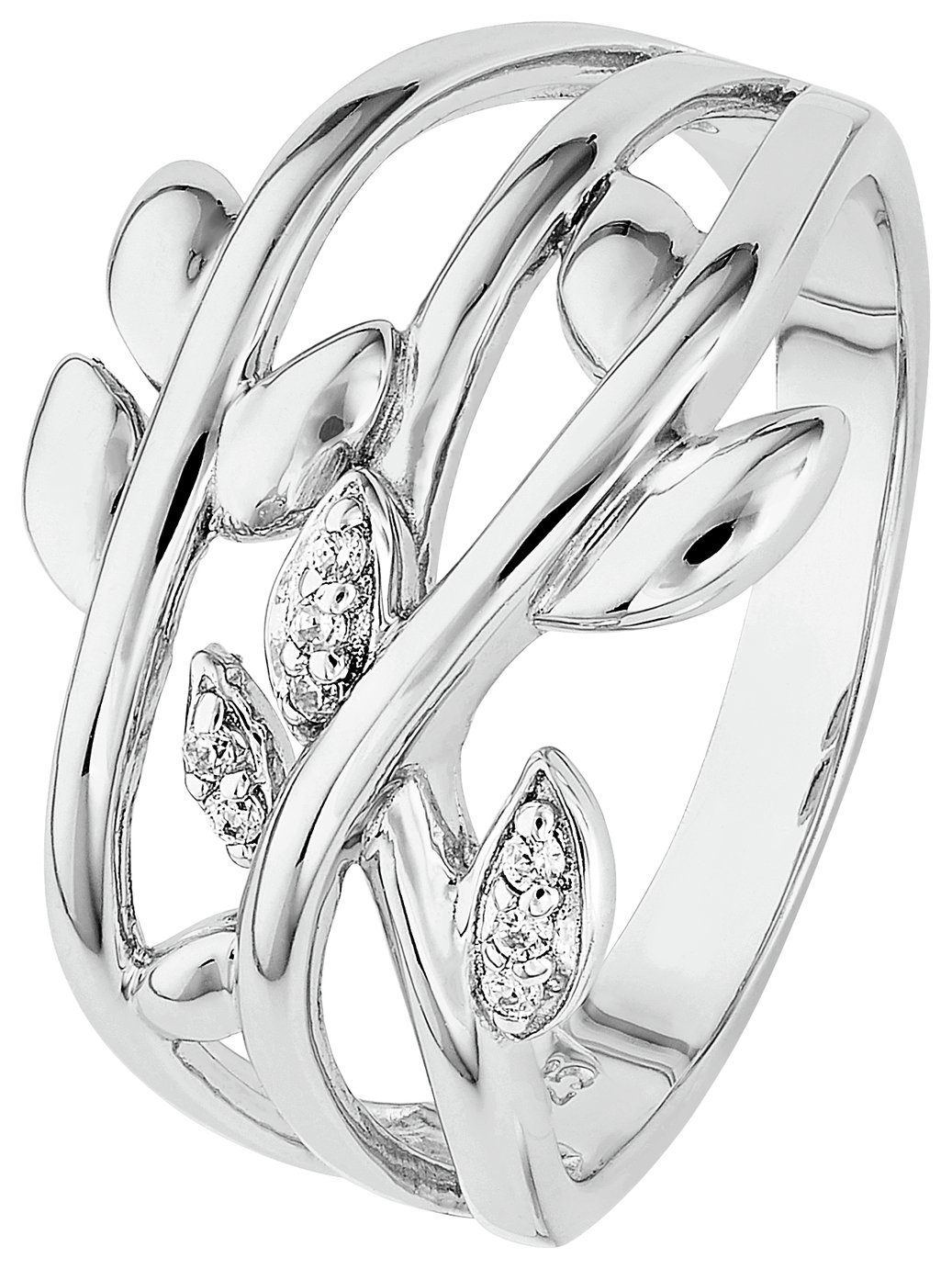 Revere Sterling Silver Cubic Zirconia Leaf Ring