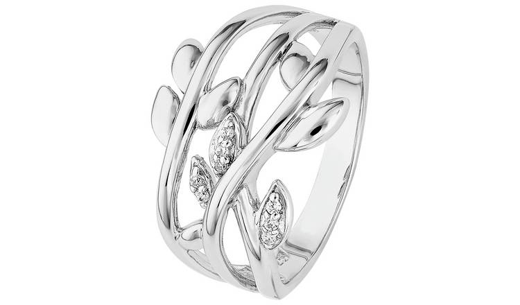 ce8febdeb Buy Revere Sterling Silver Cubic Zirconia Leaf Ring | Dress rings | Argos