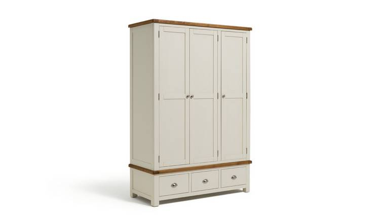 Habitat Kent 3 Door 3 Drawer Wardrobe - Cream & Oak