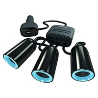 Energizer - 12V Switched Triple Socket and USB Adapter
