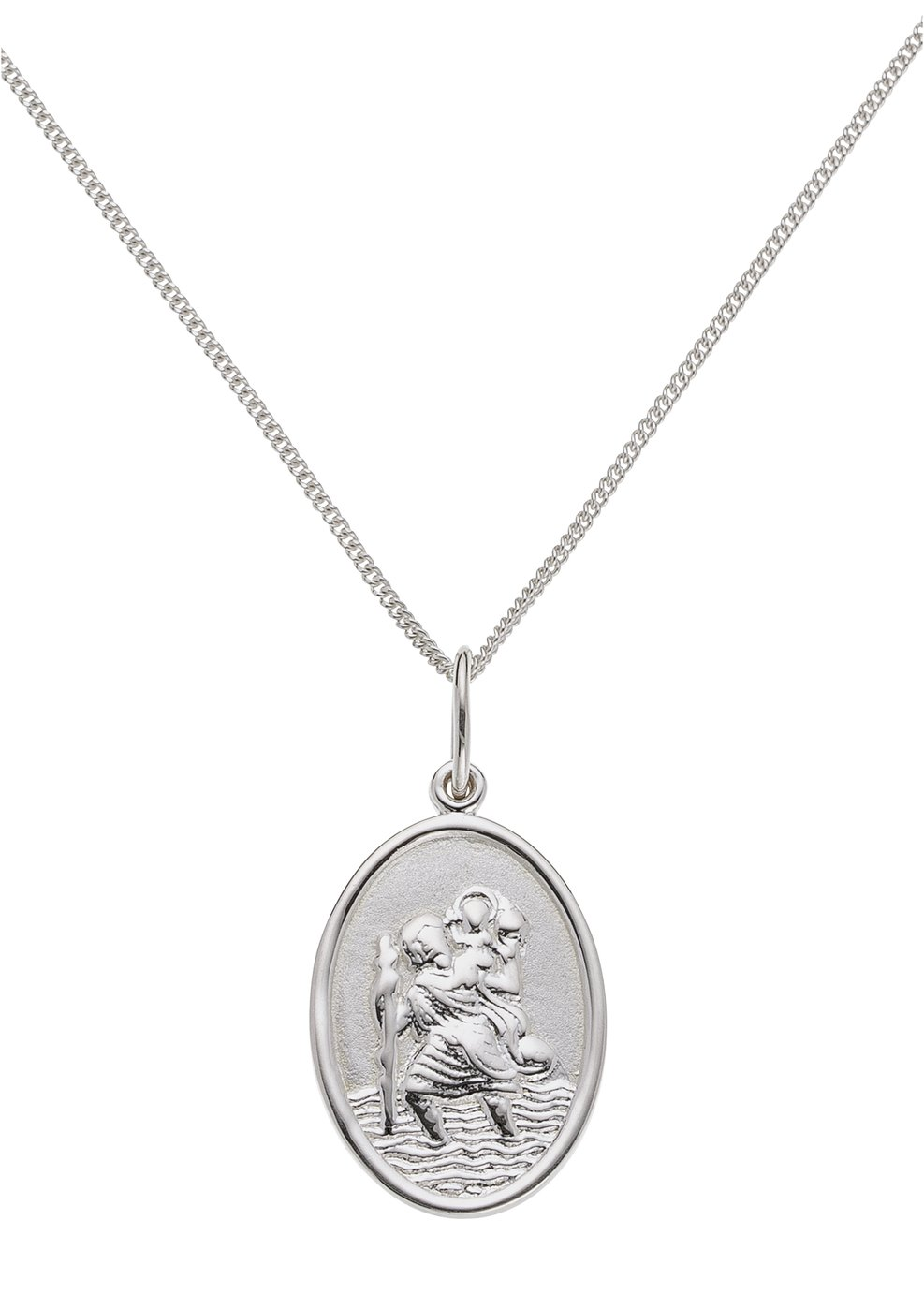 Revere Sterling Silver Oval St. Christopher Pendant
