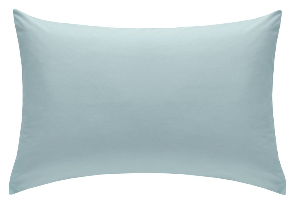 catherine lansfield  polycotton percale non iron pillowcases  duck egg blue