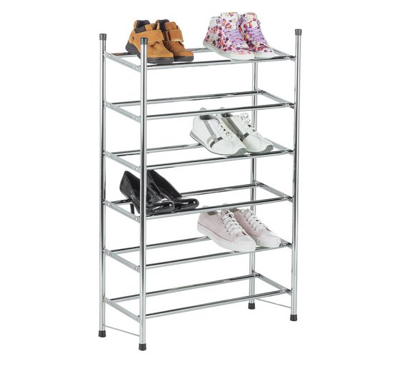 Home 6 Tier Extendable Shoe Rack Chrome