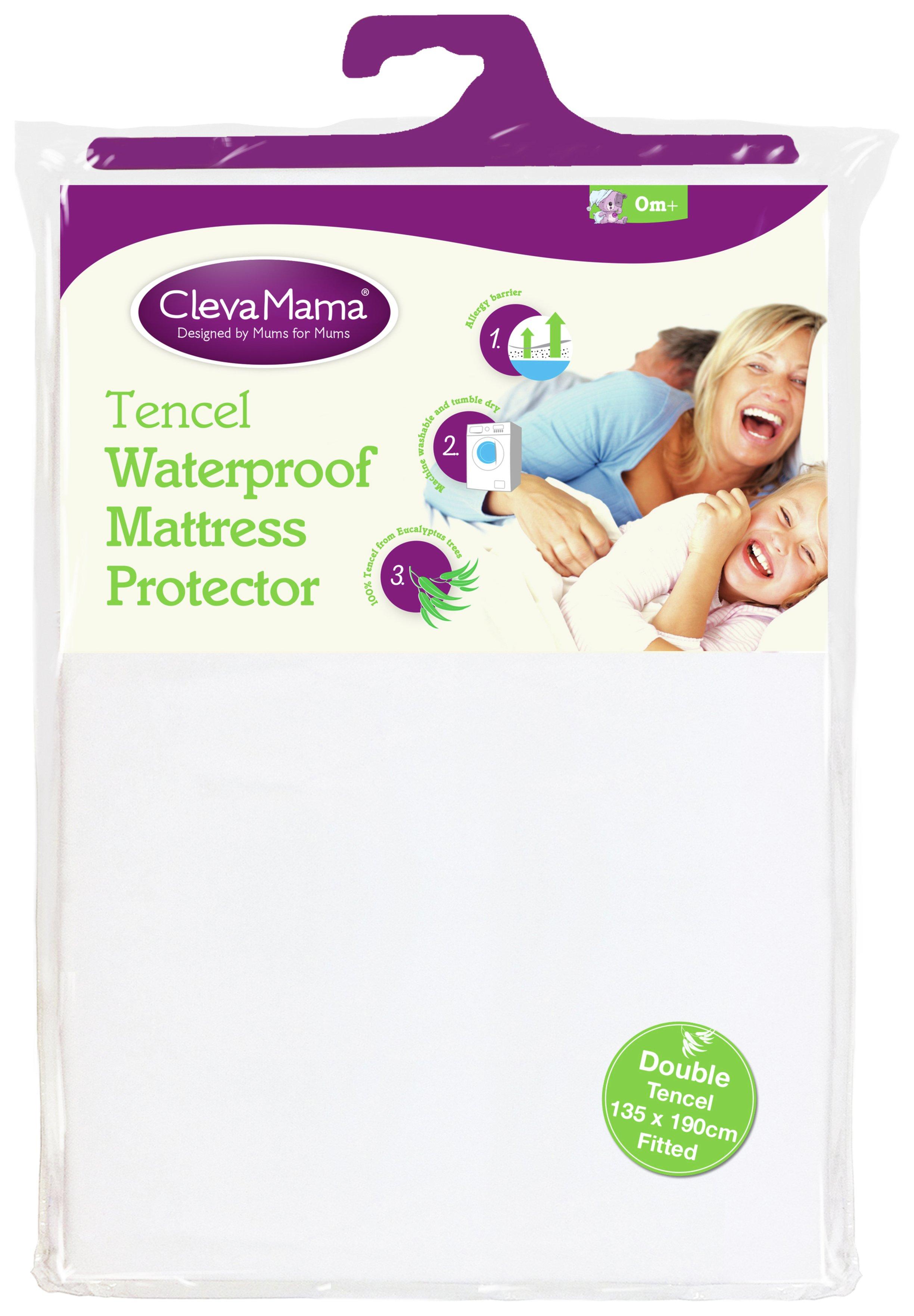 Image of Clevamama Tencel Waterproof Mattress Protector - Double.