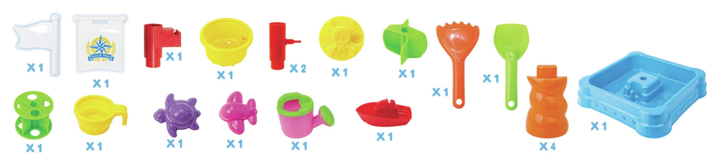 Square Sand and Water Table with 21 Pieces.