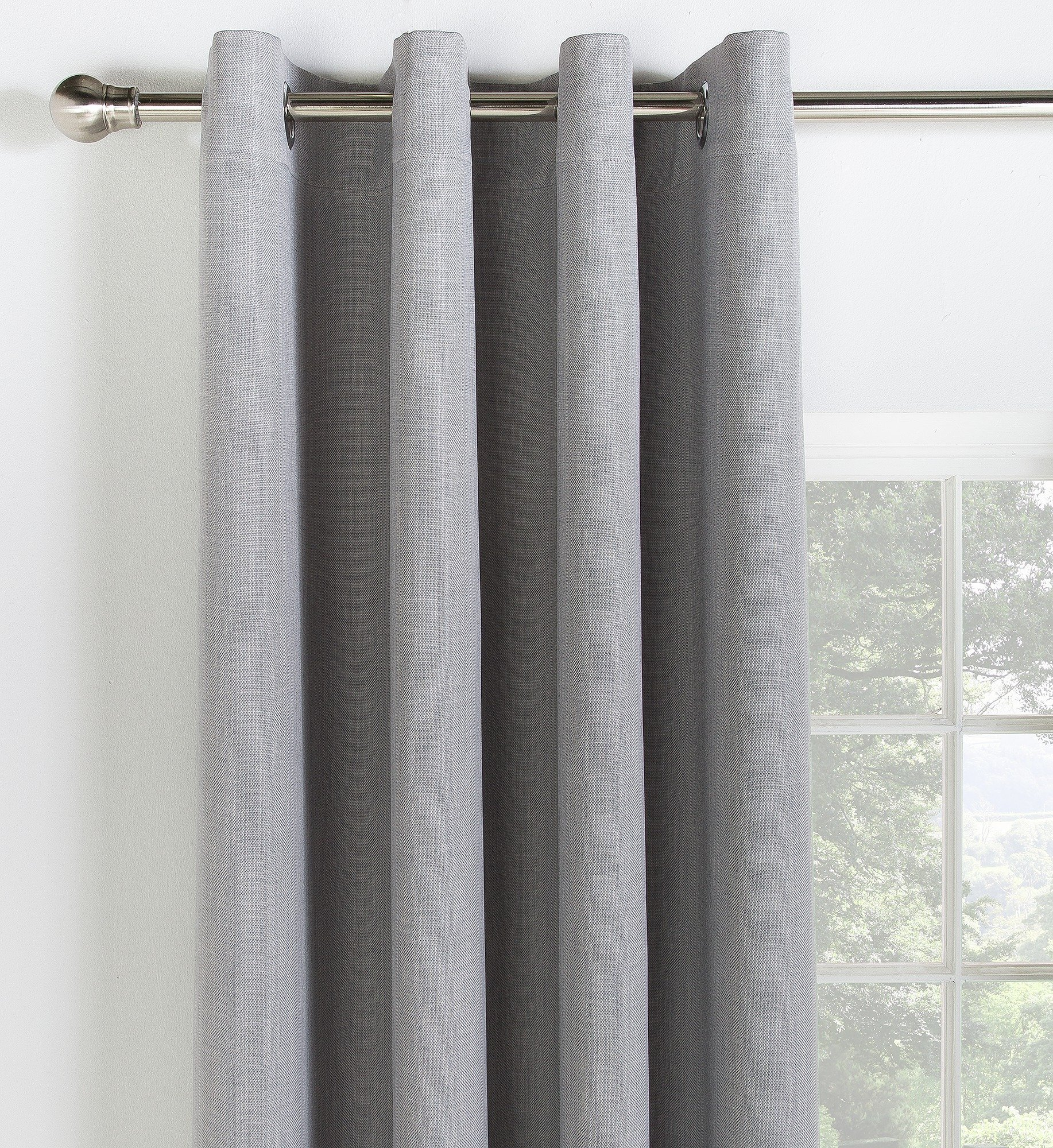 Collection Linen Look Blackout Curtains   117x137cm   Grey