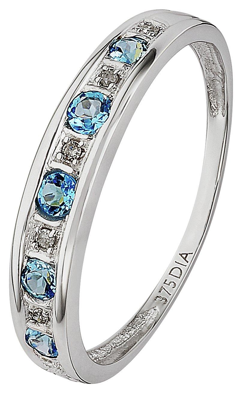 Buy Revere 9ct White Gold 0 25ct tw Diamond Topaz Eternity Ring at