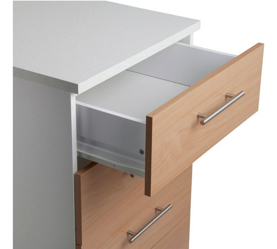 Buy athina 500mm fitted kitchen drawer unit beech wood for Wood effect kitchen units