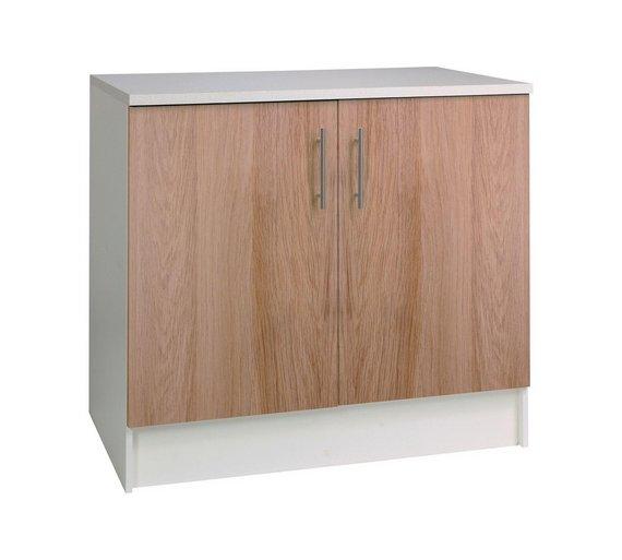 Buy athina 1000mm fitted kitchen base unit oak at argos for Oak kitchen base units
