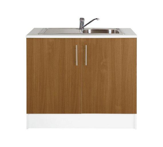 Buy Hygena Athina 1000mm S.Steel Kitchen Sink Unit - Oak   Sinks and ...