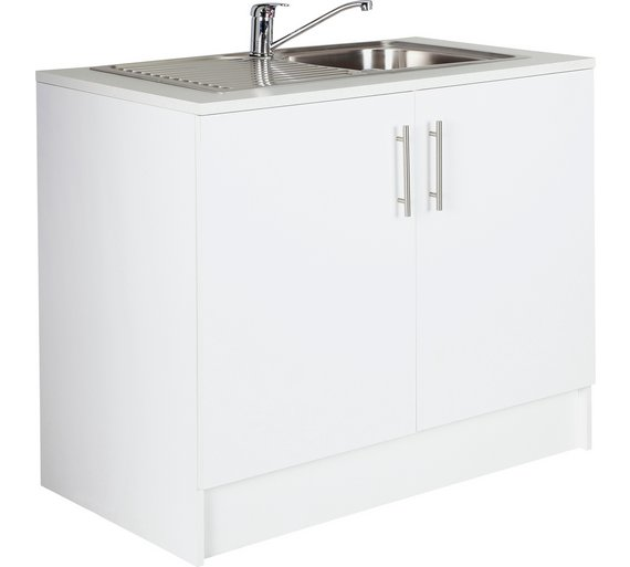 Buy Hygena Athina 1000mm S.Steel Kitchen Sink Unit - White | Sinks ...