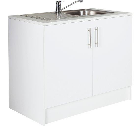 Buy Hygena Athina Mm SSteel Kitchen Sink Unit White At - Sink units kitchen