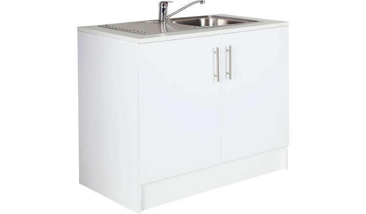 Argos Home Athina 1000mm S.Steel Kitchen Sink Unit - White