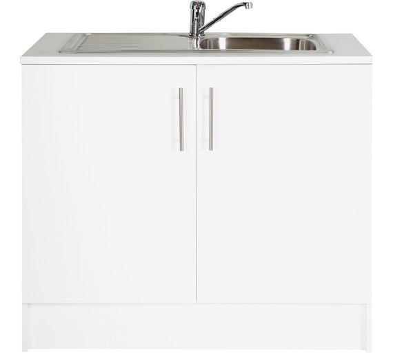 Buy Hygena Athina 1000mm S.Steel Kitchen Sink Unit - White at ...