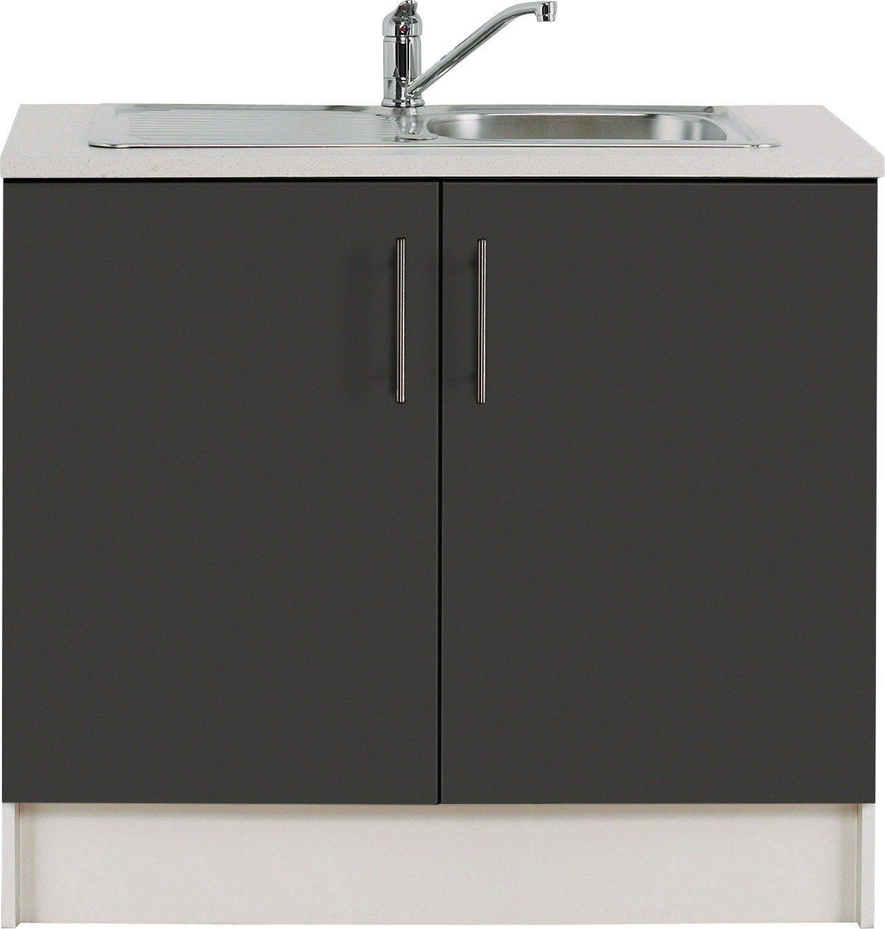 Hygena Athina - 1000mm S Steel - Kitchen Sink Unit - Black