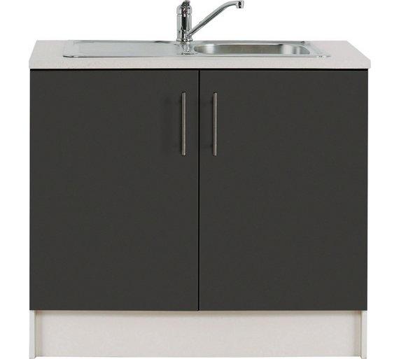 Buy Hygena Athina 1000mm S. Steel Kitchen Sink Unit - Black   Sinks ...