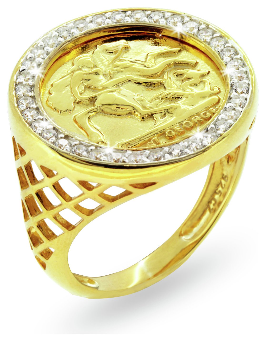 Image of Revere Men's Gold Plated Sterling Silver CZ Medallion Ring