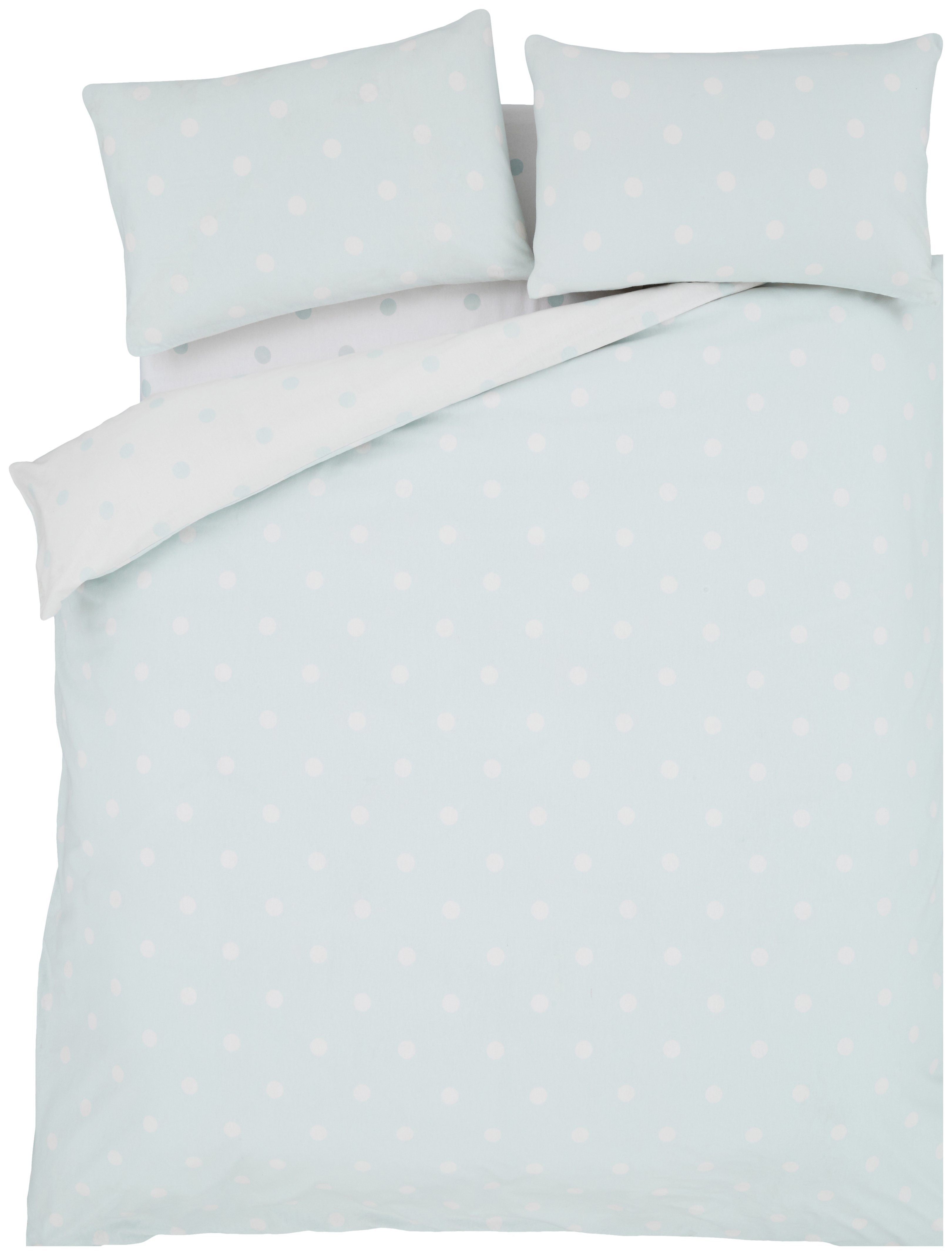 catherine lansfield duck egg polka dot duvet set  double.
