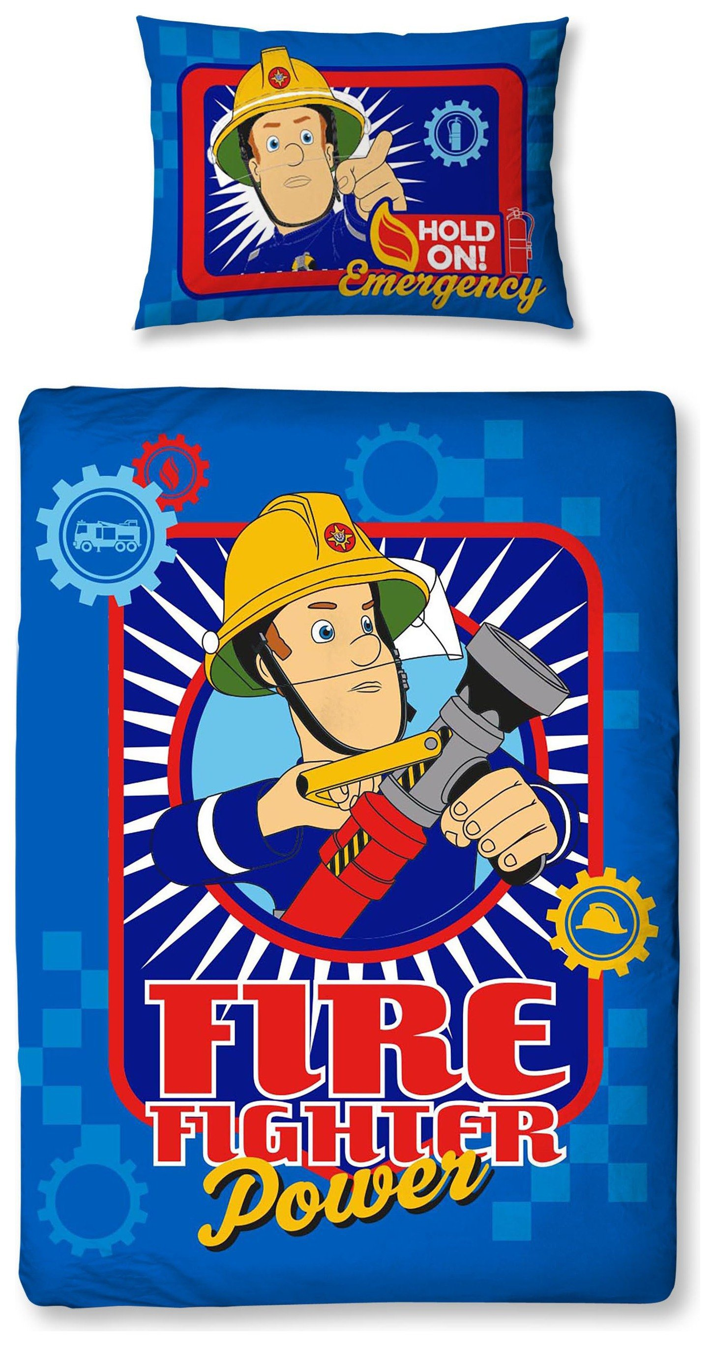 fireman sam workshop bedding set  toddler