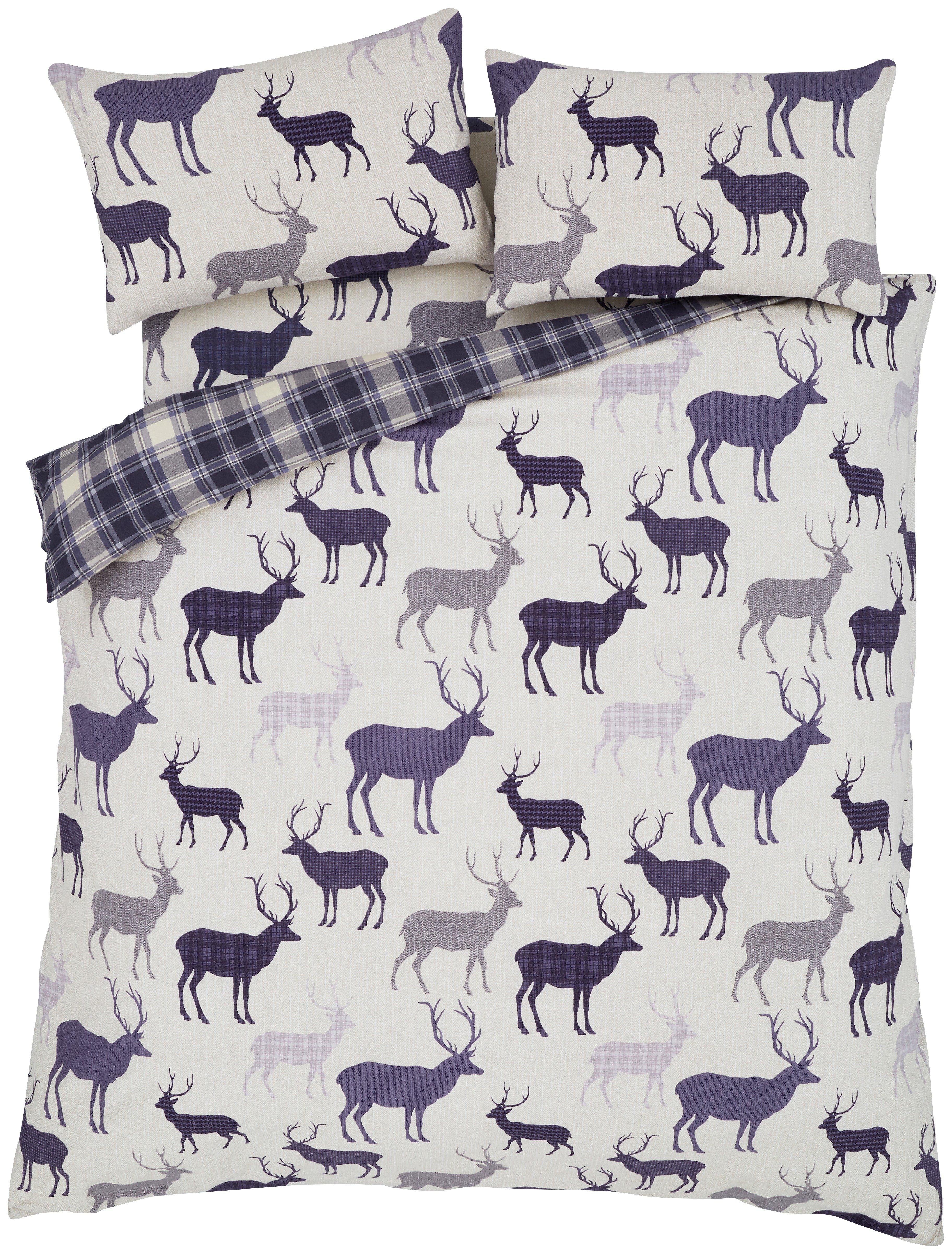 catherine lansfield grampian stag duvet cover set  kingsize