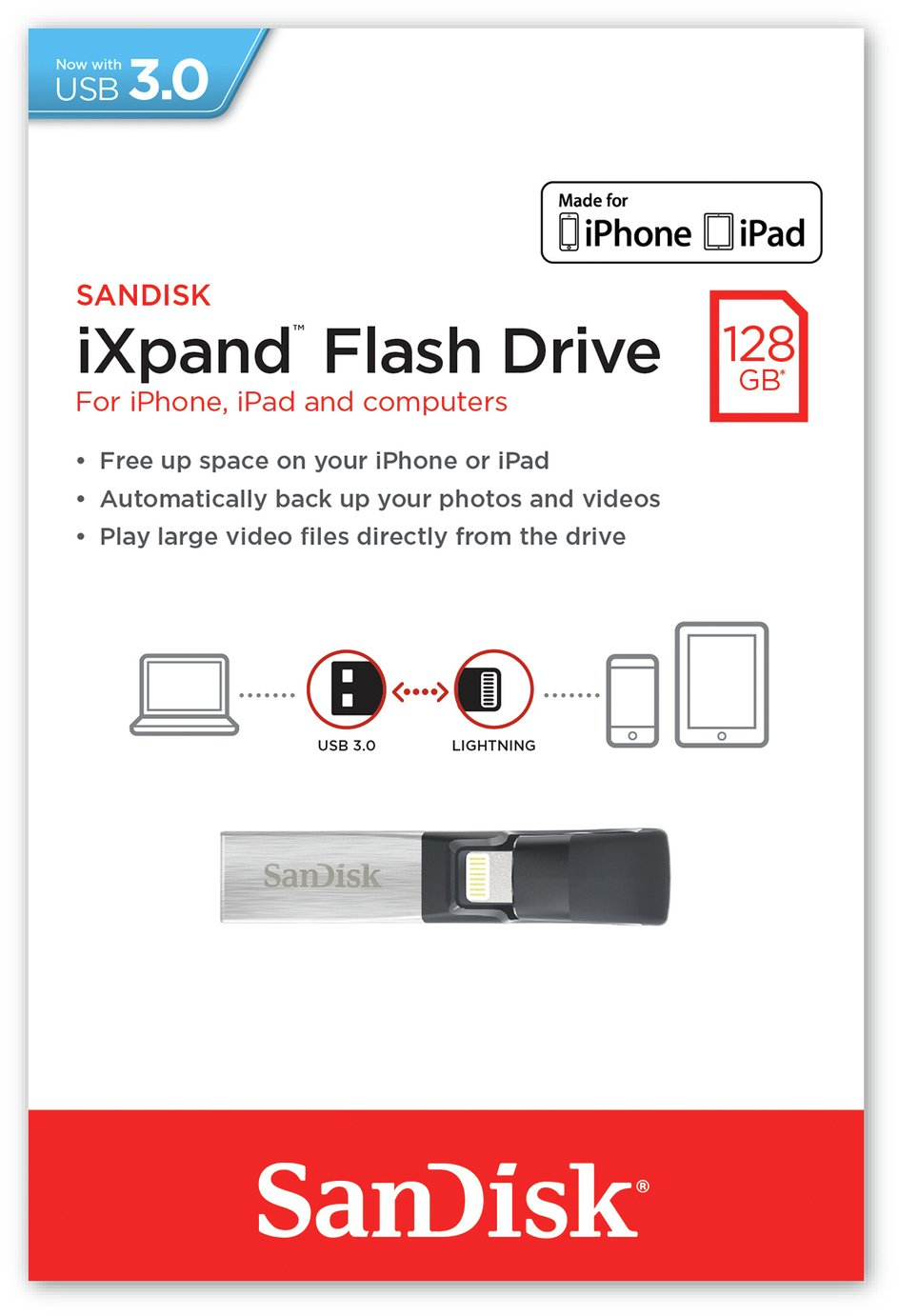 SanDisk iXpand 128GB Flash Drive for iPhone and iPad.