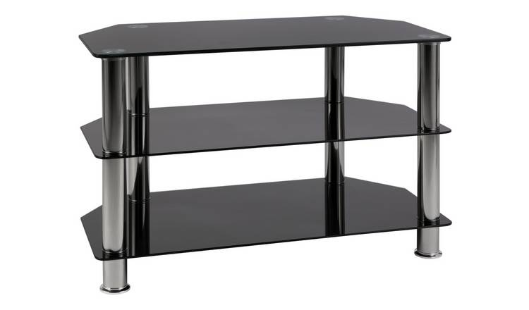 Argos Home Matrix Glass Corner TV Unit - Black & Chrome