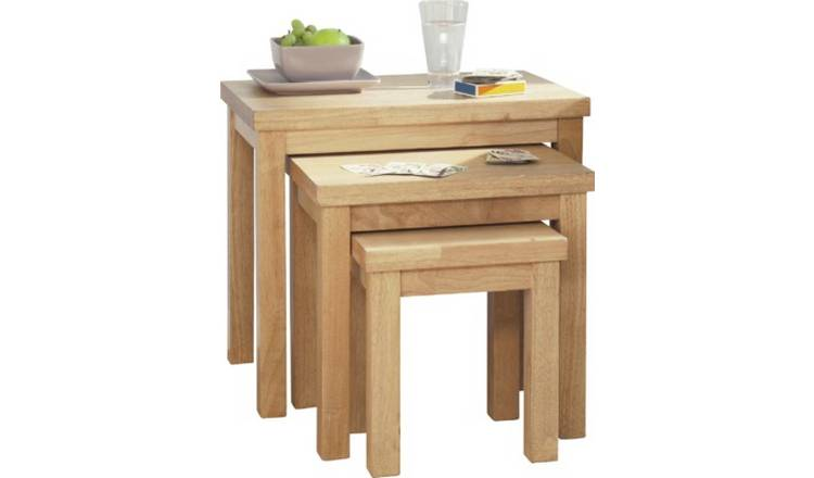 Argos Home Gloucester Nest of 3 Solid Wood Tables - Natural