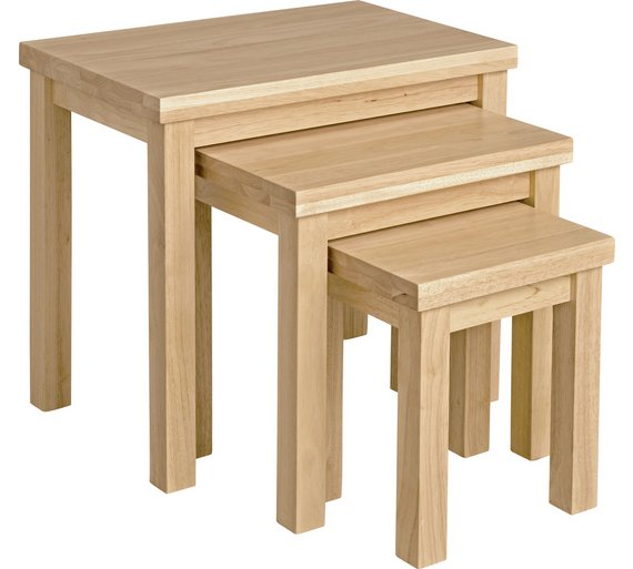 Beech nest of tables images table decoration ideas buy home gloucester nest of 3 solid wood tables natural at argos click to zoom watchthetrailerfo watchthetrailerfo