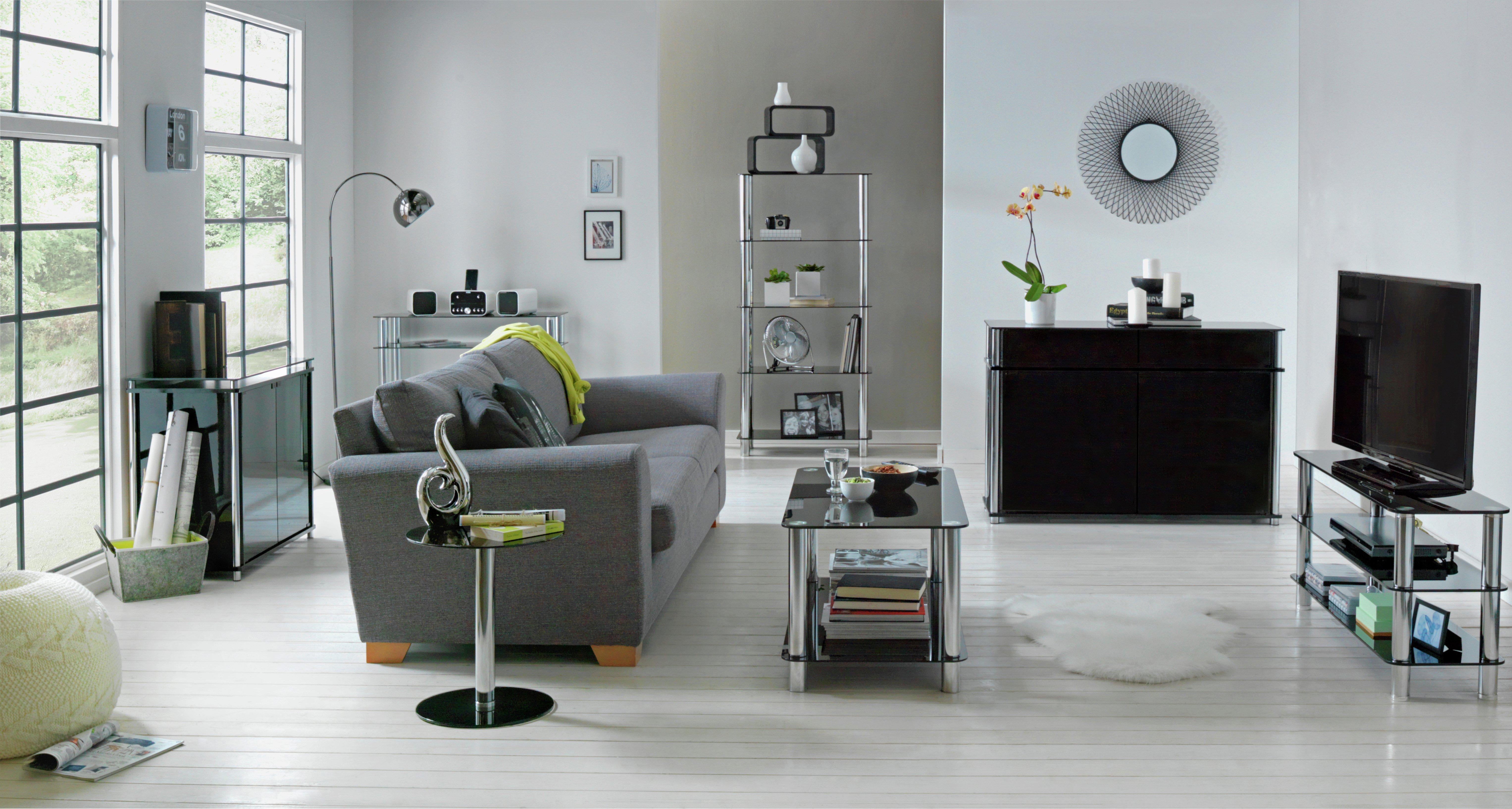 Argos Home Matrix Round Glass Lamp Table - Black