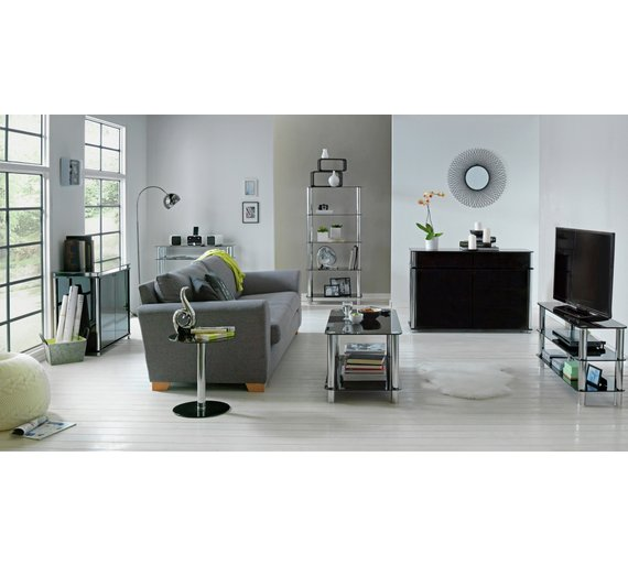 Buy argos home matrix round glass lamp table black coffee tables click to zoom aloadofball Image collections