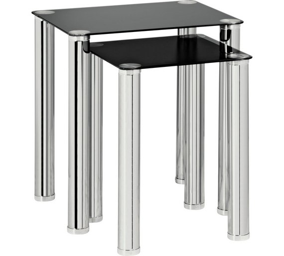 Buy Home Matrix Nest Of Tables Black Glass At Argos Co Uk