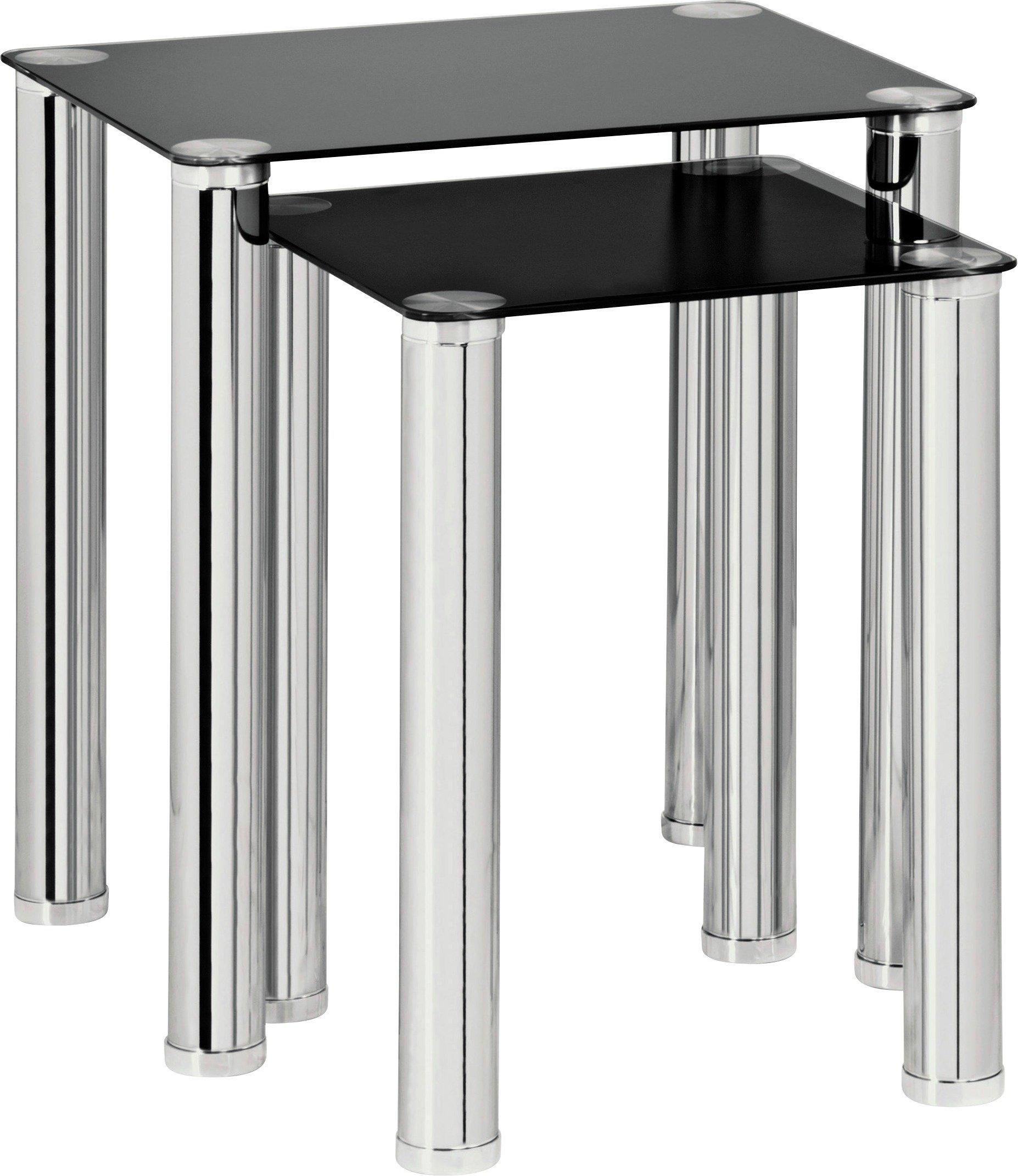 HOME Matrix Nest Of 2 Tables   Black Glass