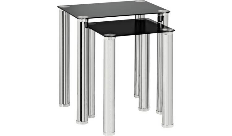 Argos Home Matrix Nest of 2 Glass Tables - Black