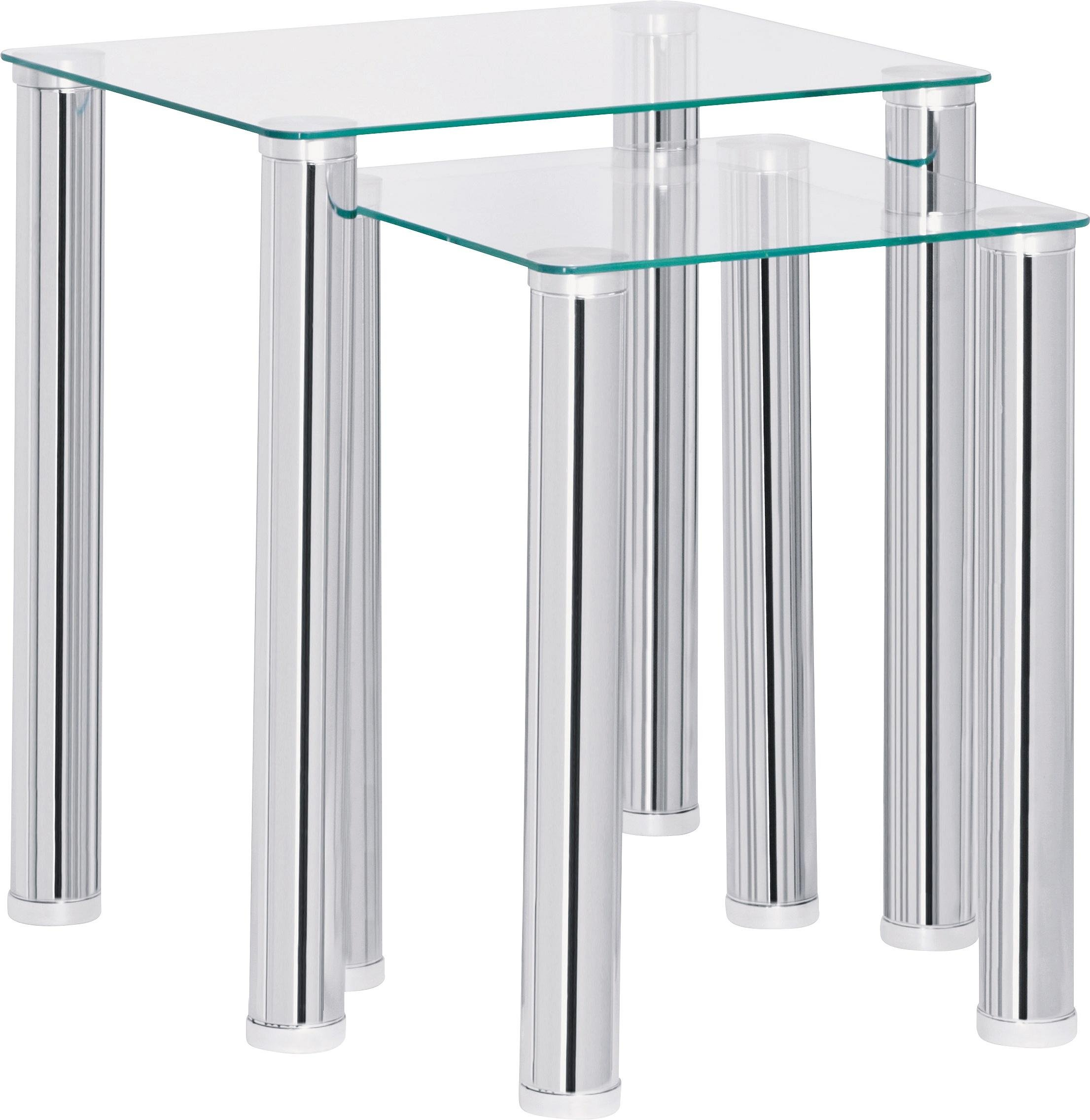 Argos Home Matrix Nest of 2 Glass Tables - Clear
