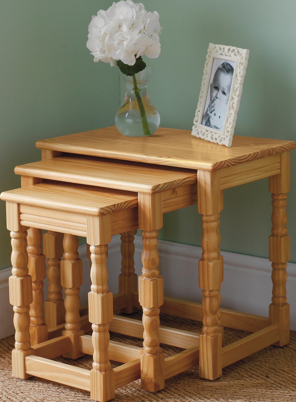 pine nest tables find it for less. Black Bedroom Furniture Sets. Home Design Ideas