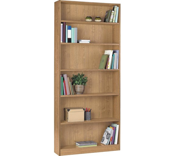 Buy home maine tall wide bookcase oak effect at your online shop for bookcases for Oak shelving units living room