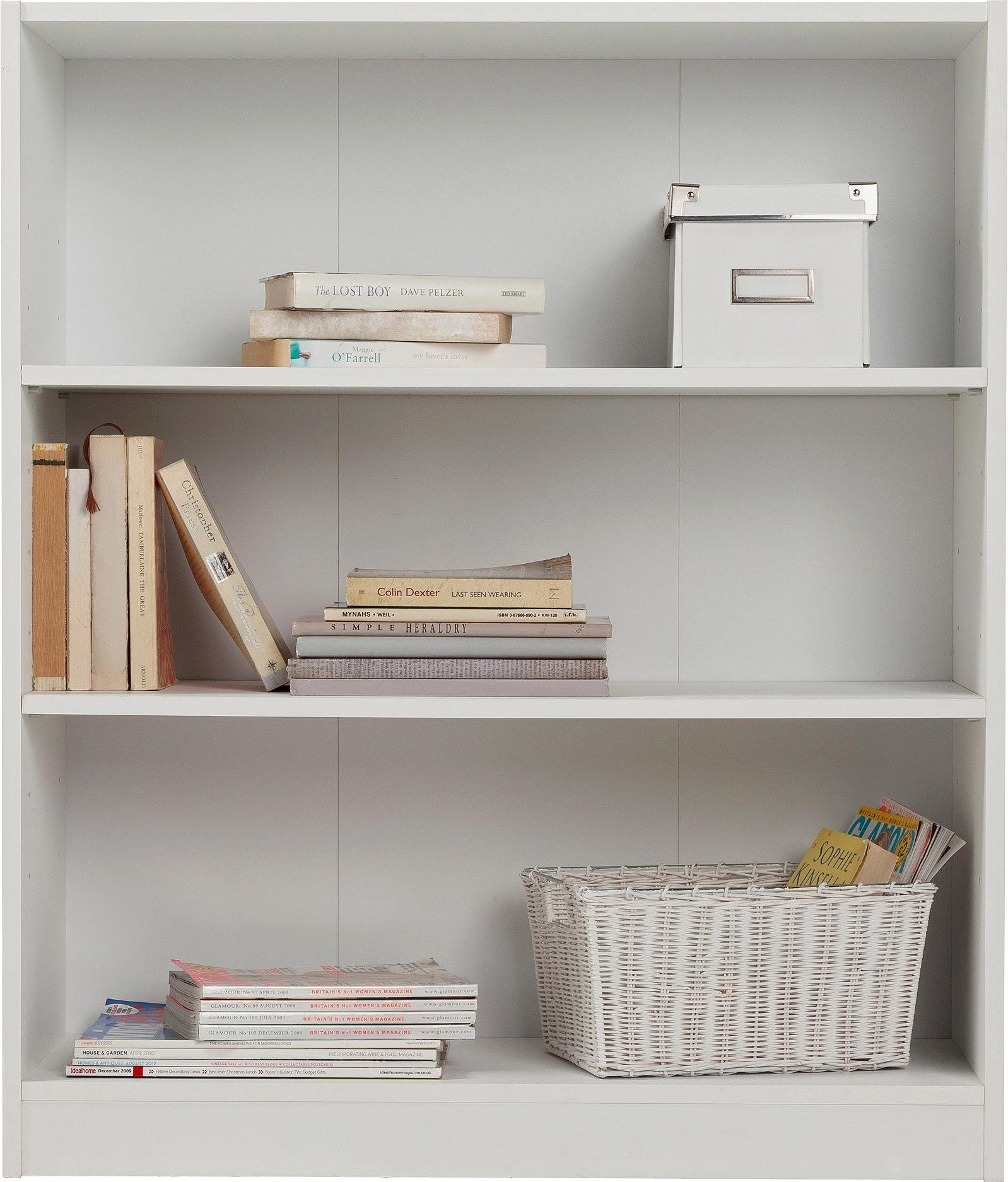 home maine 2 shelves small extra deep bookcase white